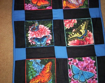 Hand Quilted Butterflies and Spring Flowers  Wall Hanging