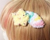 Kawaii Fairy Kei Spank Pop Kei Harajuku Lolita Decora Pastel Goth Shooting Star Rainbow Fuzzy Hair Clip Brooch