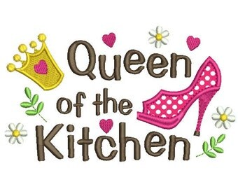 Applique Machine Embroidery Design Queen of the Kitchen Apron Decor DE015