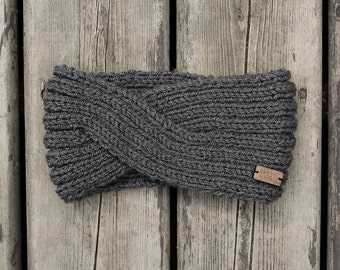 women's twisted style knit headband in charcoal grey