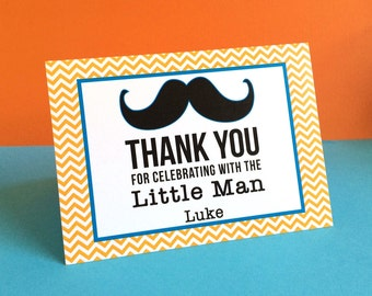 Customized Little Man Mustache Thank You Cards