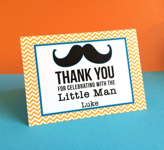 Customized Little Man Mustache Thank You Cards By Pretty Paper Party