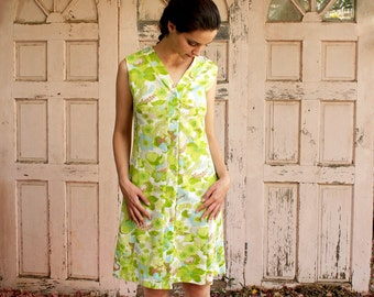 Floral Dress, Spring Dress, Polyester, Princess Cut, Typical 60s Flowers Pattern, Apple-Green, Coffee-Brown & Light-Blue,V Collar,Sleeveless