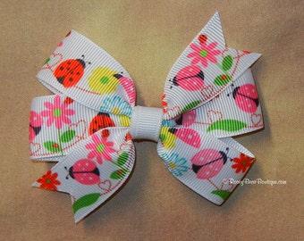 """Small Sized Pinwheel Hair Bow - 3.5"""" Summer Life RoseyBow® - Ladybug Print Hair Bow - Flower Print Hair Bow - Springtime Print Hair Bow"""