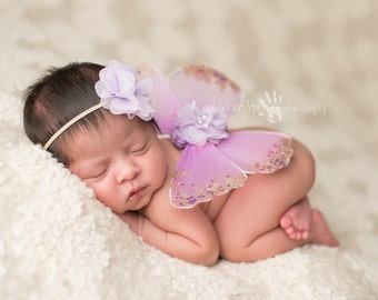 Butterfly Wings, Newborn Set- Purple, Lilac Sequin Butterfly Wings with Matching Headband