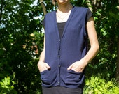 Merino Wool Vest In Blue With Silver Buttons
