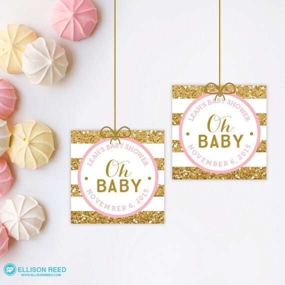 Gold  Pink Baby Shower Favor Tags Baby Shower Printable