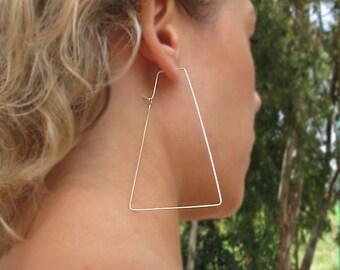 Large Trapeze Hoop Earrings.Sterling Silver - Modern Hoops - Geometric Earrings. Unique Jewelry. Geometric Hoops - Unique Earrings - Artisan