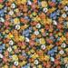 Vintage Cotton Quilt Fabric Vintage Floral Fabric Orange Yellow Blue Flowers on Black Background - 1 1/4 Yard - CFL0997
