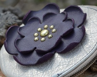 Creamy Gold Crackle Round Leather Wristlet with Purple Flower - Soft Leather Purse - One Of A Kind - Handmade - Gifts for Her