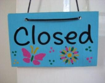 Open and Closed Door Sign, Charming American Painted Door Hanger