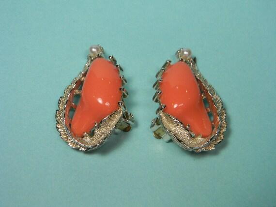 Modern Classic Coro Earrings, Silver Tone, Brilliant Coral Color