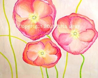Pink Poppies Print 9x12