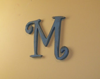 Fancy Wood Letter M Distressed 12 inch Rustic Wall Decor Choice of Letter and Color