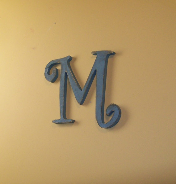 Items Similar To Fancy Wood Letter M Distressed 12 Inch