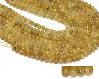 "GU-19430-3 - Golden Rutilated Quartz Round Beads - 8mm - Gemstone Beads - 16"" Full Strand"
