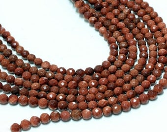 "GU-3406-1 - A Grade Red Goldstone Faceted Round Beads - 10mm - Gemstone Beads - 16"" Full Strand"