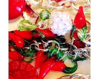 Viva Mexico peppers lucky keychain purse clip