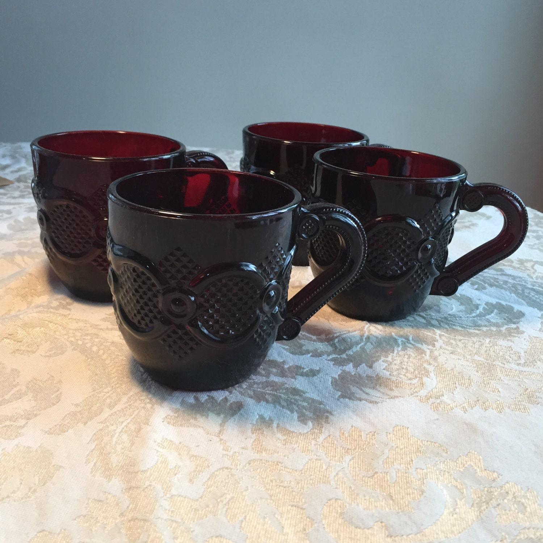 Avon Cranberry Glass / 1876 Cape Cod Teacups / Vintage Red