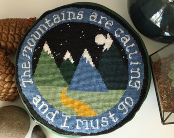 Mountain Needlepoint - Tapestry Pattern - Embroidered Tapestry