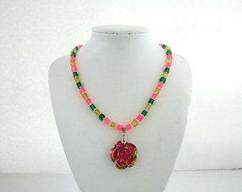 On Sale Flower Necklace Colorful Iridescent Pink Necklace Unique Necklaces Green Necklace Yellow Necklace Cool Gifts for Her Mother's Day