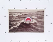 Antique Postcard with Shark Embroidery. Hand Sewn Embroidered Old Vintage Travel Postcards. Unique Home Decoration. Gifts for Vintage Lovers