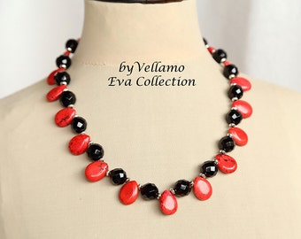 Statement necklace, bright red or green and black stones, red teardrop turquoise, black faceted onyx, elegant classy black red necklace