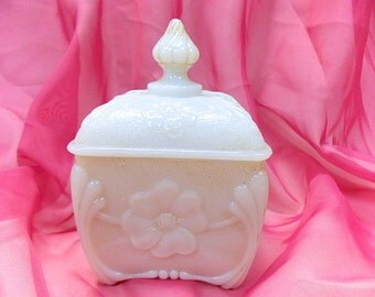 French Antique Vallerysthal Opaline / Opalescent Milk / Pressed Glass Sugar Bowl / Candy Jar (B142)
