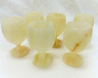 Set of 6 Vintage Carved Alabaster Water or Wine Goblets / Cups (B183)