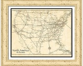 MAP of NORTH AMERICA Air Routes in a Vintage Grunge Weathered Antique style