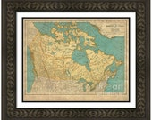 MAP of CANADA in a Vintage Grunge Weathered Antique style