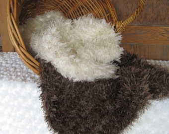 Crochet Posing Blanket Basket Stuffer Photography Prop Photo Fluff Brown or Ivory Fur