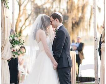 "Wedding veil with raw edges blusher veil 2 tier veil with blusher simple veil 2 layer fingertip veil bridal veil  ""Erin"""