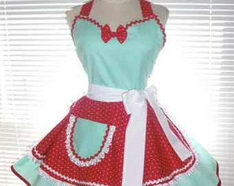Retro Diner Costume Apron, Two Tiered Skirt Aqua Blue and Red Dots Extra Full Flirty Circular Skirts