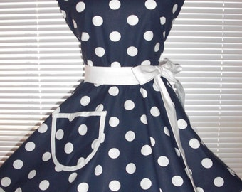 PLUS SIZE Sweetheart Retro Apron Navy Blue White Polka Dots Circular Flirty Skirt