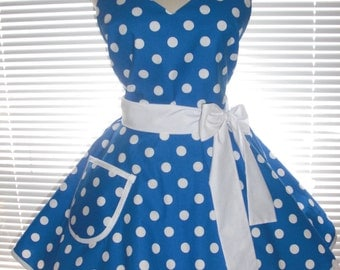 Retro Pinup Apron Cobalt Blue with White Polka Dots Twirly Circular Skirt