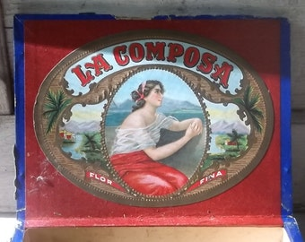 RARE Cigar Box, 1920s, Wooden Box, Tobacco, Industrial, Storage, Cigar Boxes, Labels, Recycle, Reuse, Wooden Boxes, Props, All Vintage Man