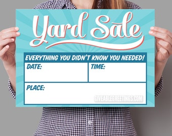 Original Yard Sale Sign - Double Sided Corrugated Plastic - Fill In the Blanks - Retro / Vintage Aesthetic