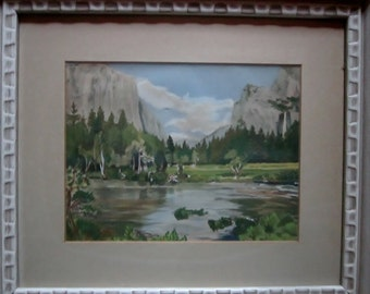Vintage Watercolor Landscape Mountain Scene Artist Named on Reverse Neuzerlt Retro Landscape Painting Vintage Frame Ready to Hang
