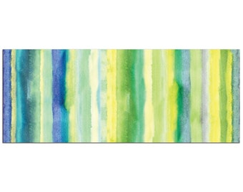 Contemporary Wall Art 'Cooling Lines v2' Blue Green Yellow Modern Decor - Striped Metal Wall Art - Cool Tones Accent, Summer Themed Artwork