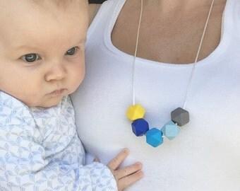 Hexagon beaded teething necklace