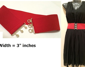 Wide Belt, Red Belt, Stretch Belt, Belt, Red Wide Red Belt, Elastic Red Belt, Plus size belt, Red Belt No. C012