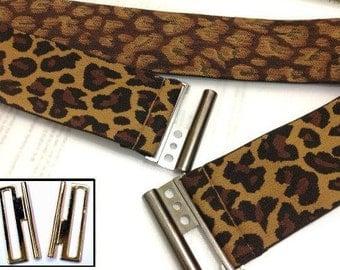 Leopard Print belt, Brown Stretch Belt, Brown Cinch Elastic Belt, Brown Belt, Brown elastic belt, Oversized belt, plus size available