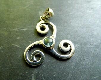 Celtic knot, node, spiral, Celtic, silver, aquamarine