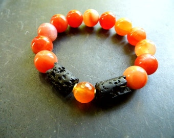 Bracelet, Carnelian, lava, bracelet, jewelry, orange