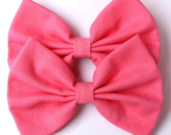 SALE - Kenzie Hair Bow - Bright Pink Hair Bow with Clip