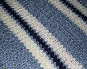 Soft Light Blue, White and Dark Blue Crocheted Baby Boy Afghan