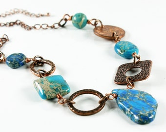 Blue Imperial Jasper Necklace, Copper, stylish statement necklace, blue gemstone, semiprecious, gift for her, bold, chunky, summer necklace