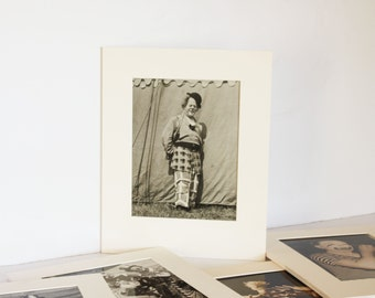 Vintage Original Circus Clown Bloom Landolf 1940s 50s large matted photograph
