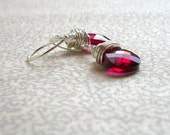 Ruth - Ruby Pink Drop Earrings, Ready to Ship